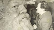 Laurence Bradshaw sculpting his monument to Karl Marx