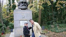 Veteran Communist Councillor Max Levitas visits the tomb of Karl Marx for the first time with Alan Dein