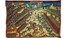 Ethiopian and Italian armies face each other in the Battle of Adwa