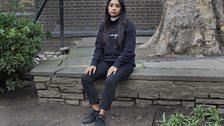Black sweatshirt, black trainers and bling