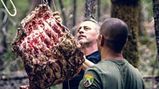 Our brave pair lay a meat trap for Bigfoot