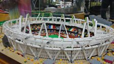 A close-up of view of the London 2012 Olympic stadium in Lego