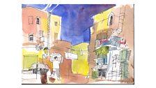 Painting of Manger Square Bethlehem - part 2
