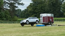 And in our horse trial we get to carry a real horse box, like Rory in his Range Rover Velar here