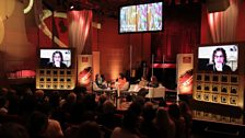 The panel onstage with Nawal al-Maghafi and Ziad Doueiri via video link at the BBC Arabic Festival