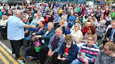Hugo and a packed square in Ballyclare