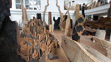David Nash sculptures in Capel Rhiw