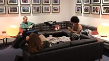 Guests Grace Barrett, Ella Whelan and Ally Fogg having a chat in the green room