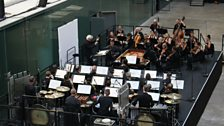 Sir Simon Rattle with Orchestra No 2 during rehearsals.