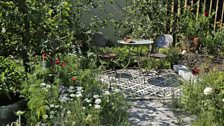 This contemporary orchard garden is inspired by antiquarian's eccentric lifestyle