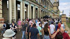 Revellers enjoy the festival's setting