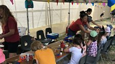 Children get involved in some art and crafts