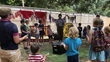 Kids take part in a circus workshop