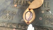 Mamie Till's locket photograph of her murdered son on his grave
