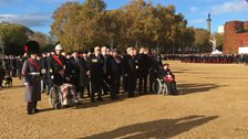 Blind veterans lined up ready to march