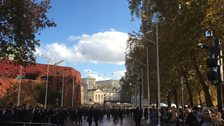 From the Mall looking to Horseguards as veterans disperse after parade