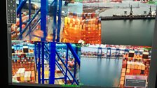 Four shots of the container ship as seen from the bridge security camera