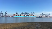 Looking from Shotley Spit towards container ship discharging in the Port of Felixstowe