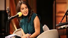 Presenter and journalist Nawal al-Maghafi hosts The Cultural Frontline panel in the BBC Radio Theatre, London