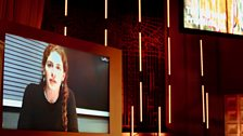 The award-winning director Annemarie Jacir via video link at the BBC Radio Theatre, London