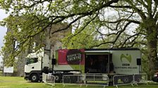 The BBC van against the beautiful backdrop of Shanes Castle