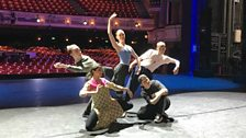 The finalists pose for a photo shoot on stage at the Birmingham Hippodrome