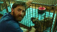 Aldo Kane with a captive tiger cub in Thailand