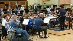 The BBC SO rehearsing Brahms's 4th Symphony at Maida Vale