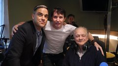 James Blunt sings You're Beautiful with Robbie Williams and Sir David Jason looking on.