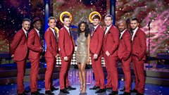 Eight of the boys perform with Beverley Knight