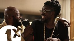 Beenie Man, Lt Stitchie & Josey Wales at King Jammy's studio, Jamaica