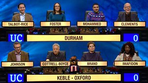 University Challenge - Christmas 2017: 1. Durham University V Keble College, Oxford