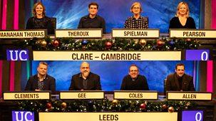 University Challenge - Christmas 2019: 1. Leeds University V Clare College, Cambridge