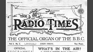 The cover of the first Radio Times - Radio Times is superimposed over a squashed map of the UK. Underneath it says 'The official organ of the BBC'.