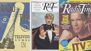 Three Radio Times covers - one is from the 1930s with a stylised mast, one has Jon Pertwee as Doctor Who and the last is from the 1990s with Arnold Schwarzenegger.