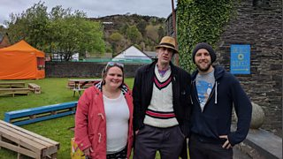 Arthur met Welsh-speaking comics Phil Cooper & Beth Jones