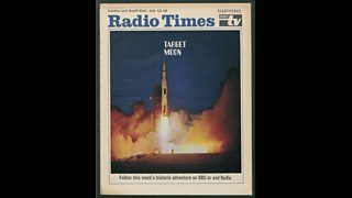 Radio Times cover showing the Apollo 11 rocket blasting off from Cape Kennedy. The caption says 'follow this week's historic adventure on BBC TV and Radio'