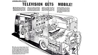 A cutaway drawing of MCR21 showing the various bits of equipment labelled. The headline is 'television gets mobile!'.