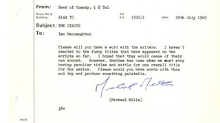 Memo from Head of Comedy 29 July 1969