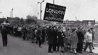 CND campaigners outside Aldermaston in Berkshire
