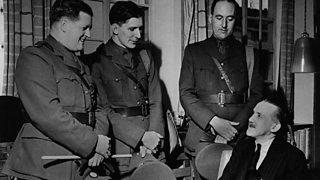 BBC War Correspondents Richard Dimbleby, David Howarth and Harvey Sarney