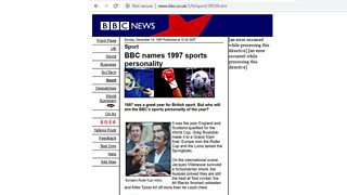 An early BBC Sport webpage, December 1997