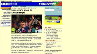 How the BBC Sport site looked on Monday, 3 July, 2000