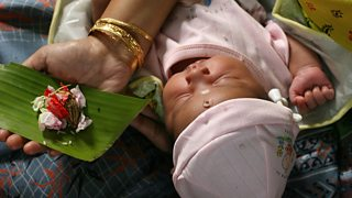 Hindu baby naming ceremony in a Calcutta home