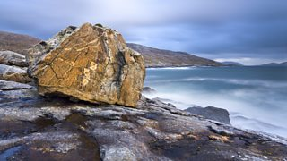 A giant rock on a showery evening in Lewis