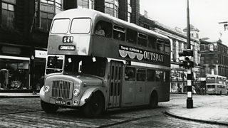 A double-decker Glasgow bus in 1961