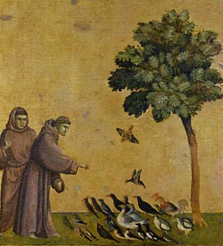 St Francis of Assisi talking to birds, by Giotto di Bondone