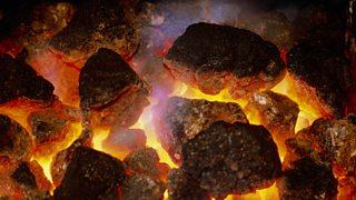 Close-up of burning lumps of coal