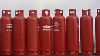 Some propane gas cylinders.