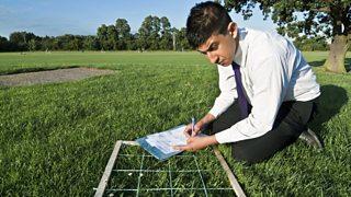A student crouches over a quadrat taking measurements.